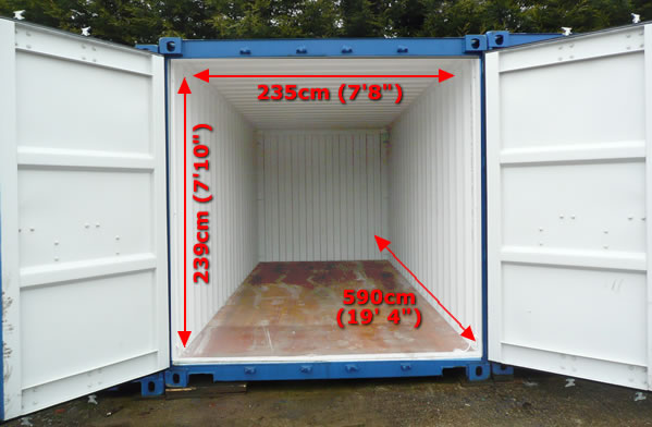 20 foot storage container measurements
